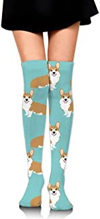 MKLOS 通気性 圧縮ソックス Breathable Cheerleader Over The Knee Plus Size Long Cotton Stretchy Thigh Stockings Funny Corgi Dogs Mint Green High Tube Socks Women Girl