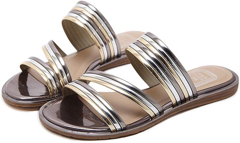 CYBLING Women Open Toe Metallic Strappy Slide Sandals Soft Sole Flat Slippers