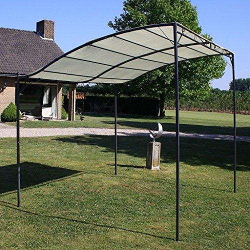 Festnight Fabric Large Garden Gazebo Backyard Shelter Canopy with Steel Frame Cream White