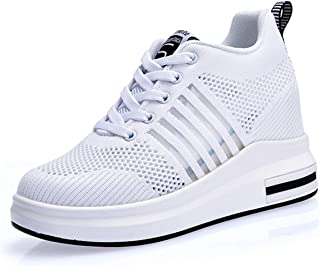 3256b9068a1a72 AONEGOLD Femme Baskets Compensées Chaussure Tennis de Sport Gym Fitness  Respirantes Sneakers Talon 8.5cm