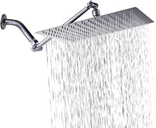 Sarlai Solid Square Ultra Thin 304 Stainless Steel 12 Inch Adjustable Rain Shower Head with Solid Brass 11 Inch Adjustable Extension Arm(Upgraded)