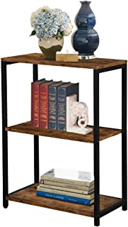 LENTIA 3-Shelf Industrial Bookshelf and Bookcase, Open Vintage Bookcase with Metal Frame Furniture, Rustic Book Shelf Storage Display Bookshelves for Living Room Home Office