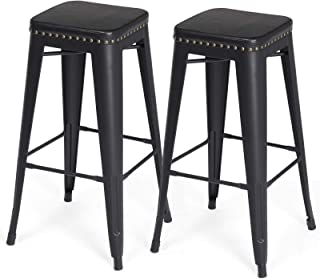 SONGMICS Bar Stools, PU Upholstery Bar Chairs, Stackable Kitchen Stools, 30 Inches Bar Height, Set of 2 Breakfast Stools, No Assembly Required, Industrial Style, Black