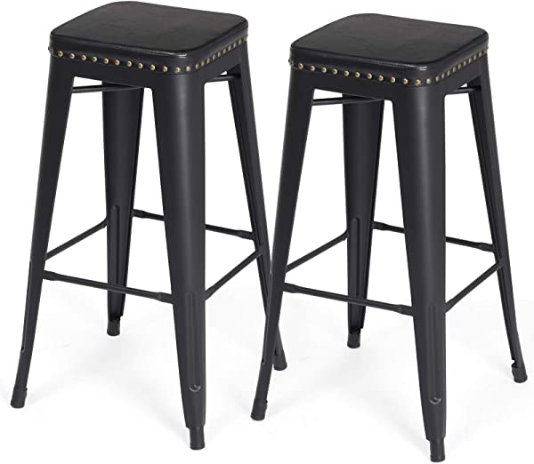 SONGMICS Bar Stools PU Upholstery Bar Chairs Stackable Kitchen Stools 30 Inches Bar Height Set Of 2 Breakfast Stools No Assembly Required Industrial Style Black ULJB33BK