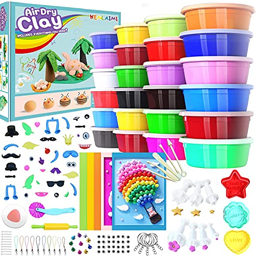 Kenlaimi Magic Modeling Clay Kit - 24 Colors Air Dry Ultra Light Magic Clay,Soft & Stretchy Molding Clay with 11 Pcs Fondant Tools,5 Sculpting Tools,Animal Accessories,Arts and Crafts for Kids Ages 3+