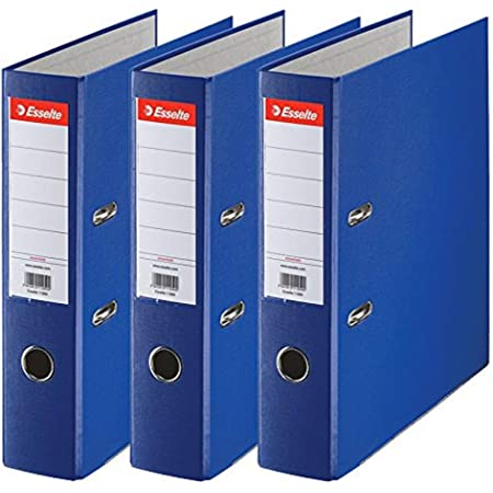 Esselte, Essentials, Pack de 3 Classeurs à levier, Bleu foncé, Dos 75mm, A4, PP, 624291