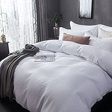 Merryfeel Sand Washed Cotton Waffle Weave Duvet Cover Set - Full/Queen