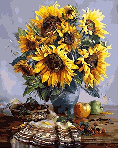 Tirzah Malen nach Zahlen mit 3X Bildschirmlupe 40 x 50cm DIY Leinwand Gemälde für Erwachsene und Kinder, Enthält Acrylfarben und 3 Pinsel - Vintage Sonnenblume (Ohne Rahmen)