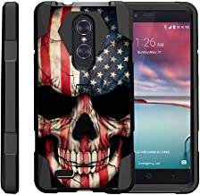 TurtleArmor | Compatible with ZTE ZMax Pro Case | ZTE Blade X Max Case [Dynamic Shell] Hybrid Dual Layer Hard Shell Kickstand Silicone Case - US Flag Skull
