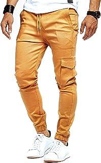 UUYUK Men Casual Solid Color Drawstring Running Harem Jogger Pants