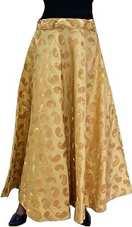 Matelco Women's Chanderi Silk Skirt (Free Size)