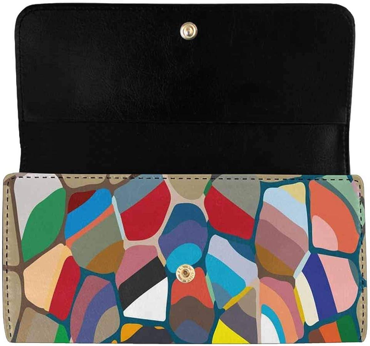 INTERESTPRINT Women's Trifold Clutch Wallets Colorful Cactus Card Holder Purses Handbags