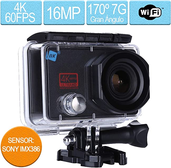 NK Cámara Deportiva subacuática Hole 4K Ultra HD 60 FPS 16MP WiFi - HDMI Carcasa Impermeable 170º Gran Angular Sensor Ultra-Avanzado SonyIMX386 1.050mAh (15 Accesorios Múltiples)