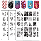 Ejiubas Stamping Plates Nail Art Plates Nail Stamping Kit Manicure Tools Fall Textures + Deeva Fairy Tales Theme Double-sided 2 Counts 4 Sides EJB-08&DD