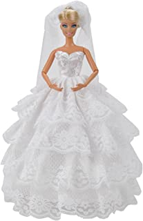 E-TING Handmade Wedding Evening Party Dress Clothes Gown Veil for Girl Dolls (White)