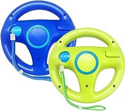 Jadebones 2 Pack Mario Kart Racing Steering Wheel with Wrist Strap for Nintendo Wii Remote Controller (Blue+Green)