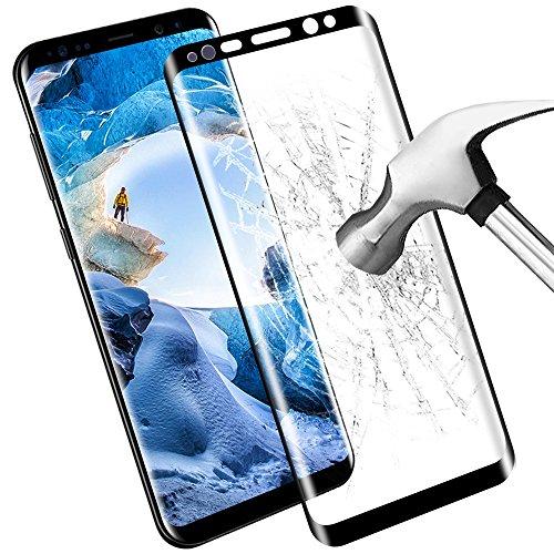 Samione Samsung Galaxy S8 Pellicola Protettiva, HD Cristallo Film Completo Schermo Bordo Curvo Protezione per Samsung Galaxy S8 Vetro Temperato (1-Pack)- Nero