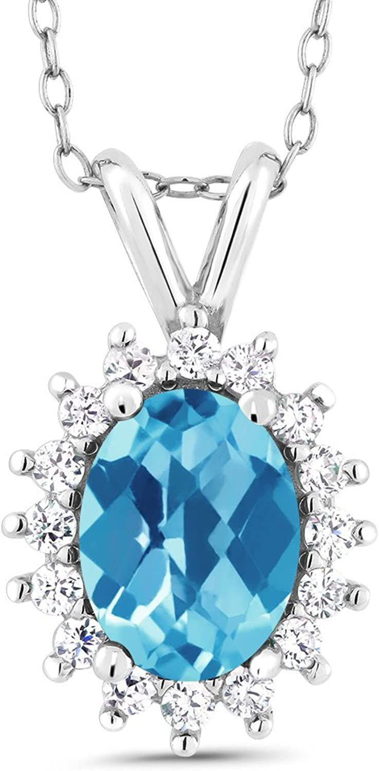 Oval Checkerboard Swiss bluee Topaz 14K White gold Pendant 1.54 Cttw With 18 Inch Chain