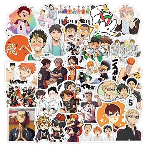 Zhenzhiao 50Pcs Anime Haikyu PVC Wasserfest Aufkleber Vinyl Sticker Aufkleber No-Duplicate für Auto, Gepäck, Computer, Heim Dekor Ventilatoren Geschenke - Haikyuu