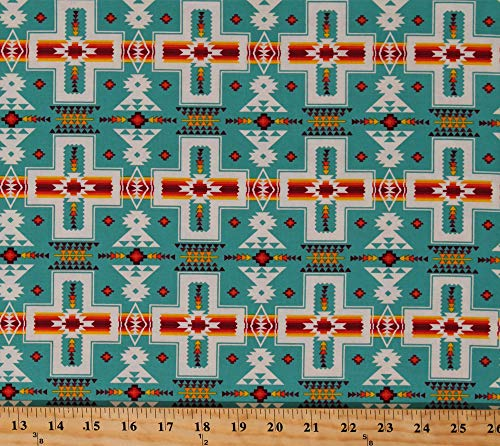 Cotton Southwestern Stripes Tribal Designs Crosses Native American Aztec Tucson Turquoise Cotton Fabric Print by The Yard (D362.24)