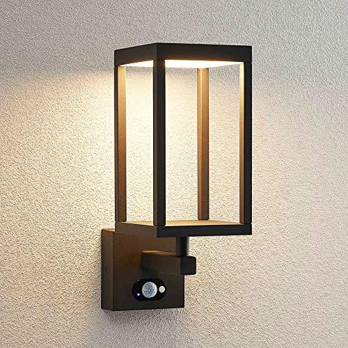 LED Lámpara de pared Led exterior 'Qimka' (Moderno) en Negro hecho de Aluminio (1 llama, A+) de Lucande | lámparas de pared LED para exterior aplique, lámpara LED para exterior, aplique para pared