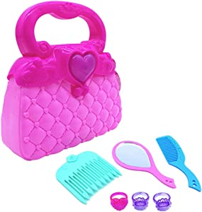STOBOK Girls Princess Candy Simulation Handcase Pretend Traveling Handbag and Dress-up Set Kids Vanity Beauty Pretend Purse Loaded with Every Day Accessories