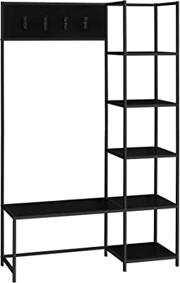 "Monarch Specialties Free Standing Hanger Hanging Bench with Shelves - 4 Hooks - Metal Frame for Entryway or Hallway Modern Hall Tree, 71"" H, Black"