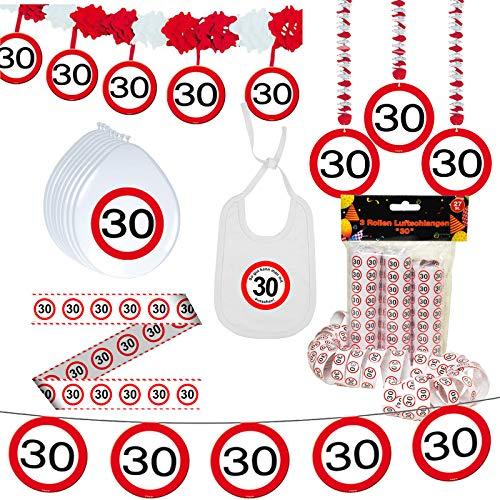 Unbekannt Geschenkeparadies 24 Deko Set 42 TLG. 30.Geburtstag Party Deko Dekoration Glitter Girlande Luftballons