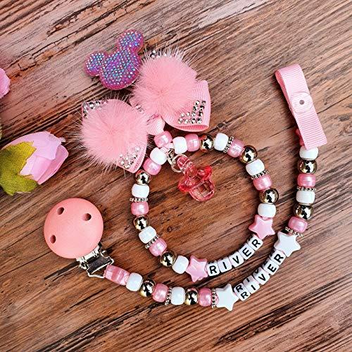 Personalised set of two dummy clip & pram charm keepsake gift