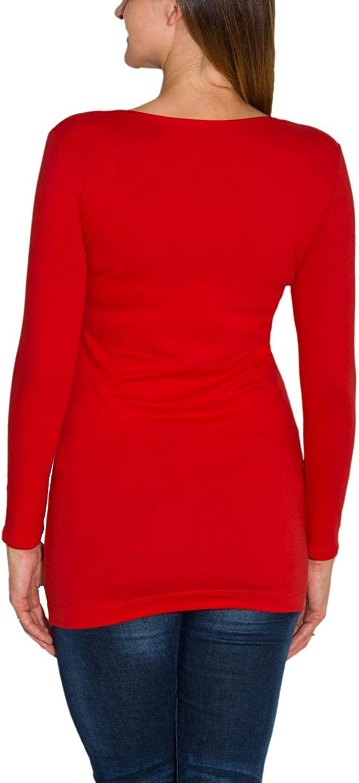 Alkato Damen Langarm Longshirt Tunika Basic Shirt