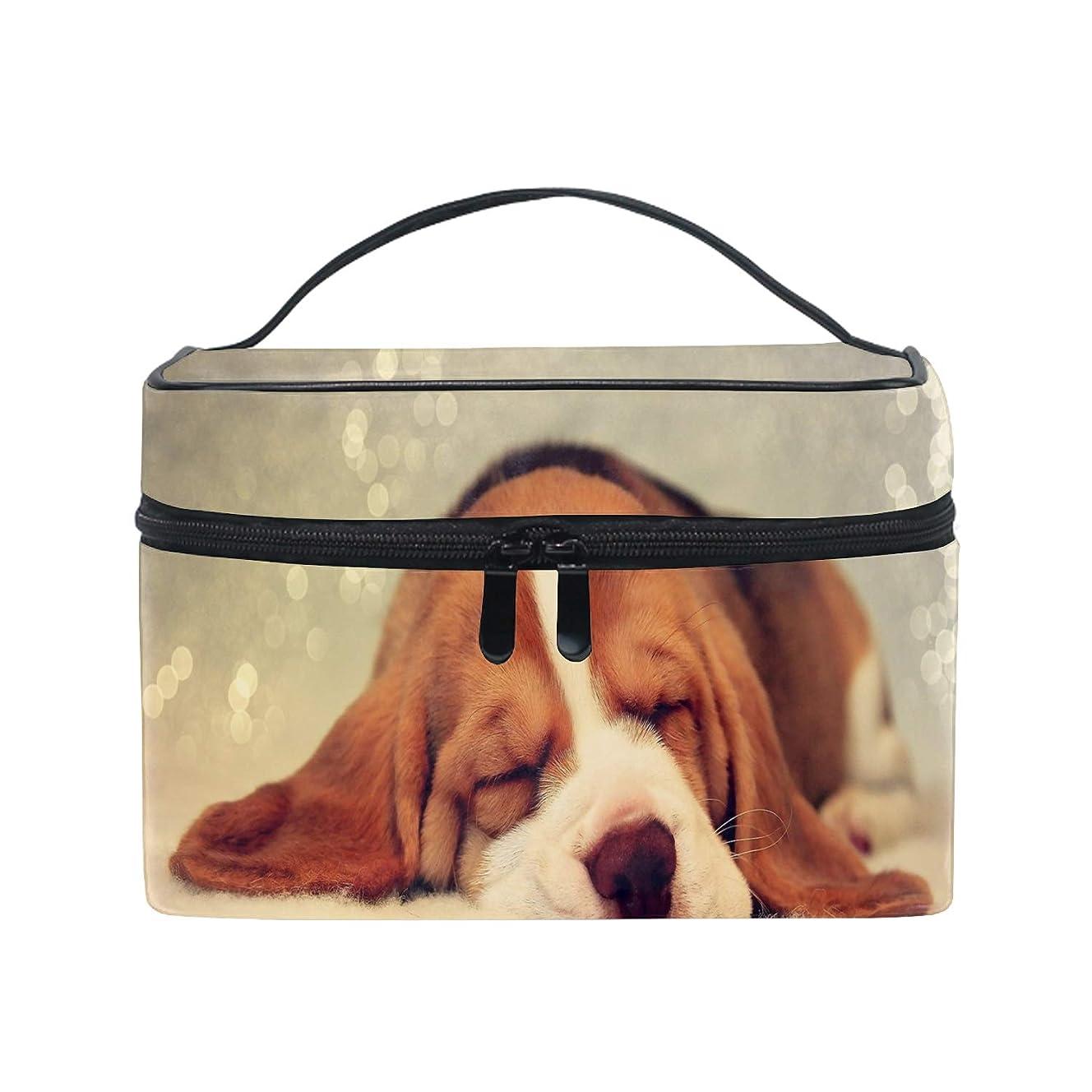 石炭苦情文句関数化粧ポーチ メイク収納 中身が見やすい犬が寝ている 持ち運び用 小物入れ