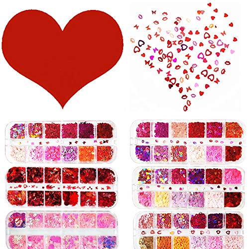 MiaoWu 72 Grids Valentine's Day Nail Art 3D Pink Red Holographic Nail Sequins Lazer Butterfly Star Moon Assorted Pattern Flakes Glitter Heart Hollow Heart Lip Shape Laser Flakes Sparkly Confetti