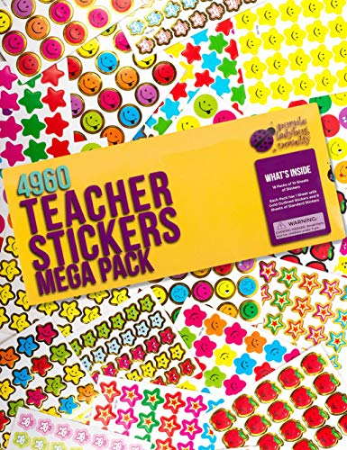 Purple Ladybug Teacher Stickers For Kids Mega Value Pack! 4960 Reward Stickers for Teachers & Incentive Stickers Sheets in Bulk for Classroom & School Use - with Star Stickers & Other styles Stickers!