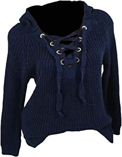 Macondoo Women's Juniors Hooded Pullover Jumper Knitted Lace Up Sweater