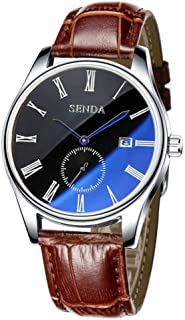 Fashionable Men's Quartz Watch with Leather Strap 30 M Waterproof Window Calendar Round Dial Analog Display Casual Wristwatch
