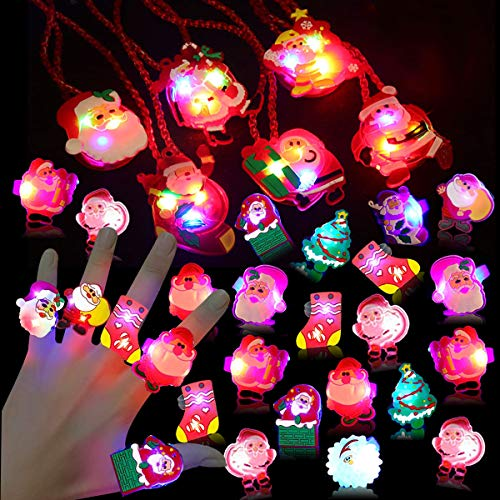 56 PCS Christmas LED Toys Necklaces Rings,Christmas Party Favors for Kids Light Up Christmas Gift Flash Rings Necklaces Glow in the Dark Christmas Party Supplies for Christmas Stocking Stuffers Party Games Gift