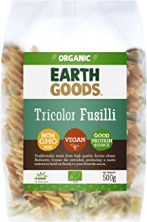 Earth Goods Organic Tricolor Fusilli Pasta, NON-GMO, Vegan, Good Protein Source 500g