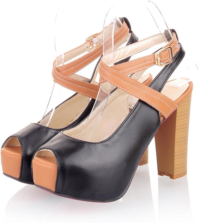 AIWEIYi Womens High Heels Platform Open Toe Ankle Straps shoes Dress Sandals bluee