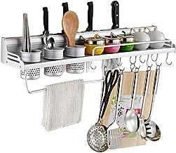 Kitchen Shelf, Space Aluminum Wall-Mounted Spice Rack, Kitchen Utensils Storage Rack for Kitchen, Storage
