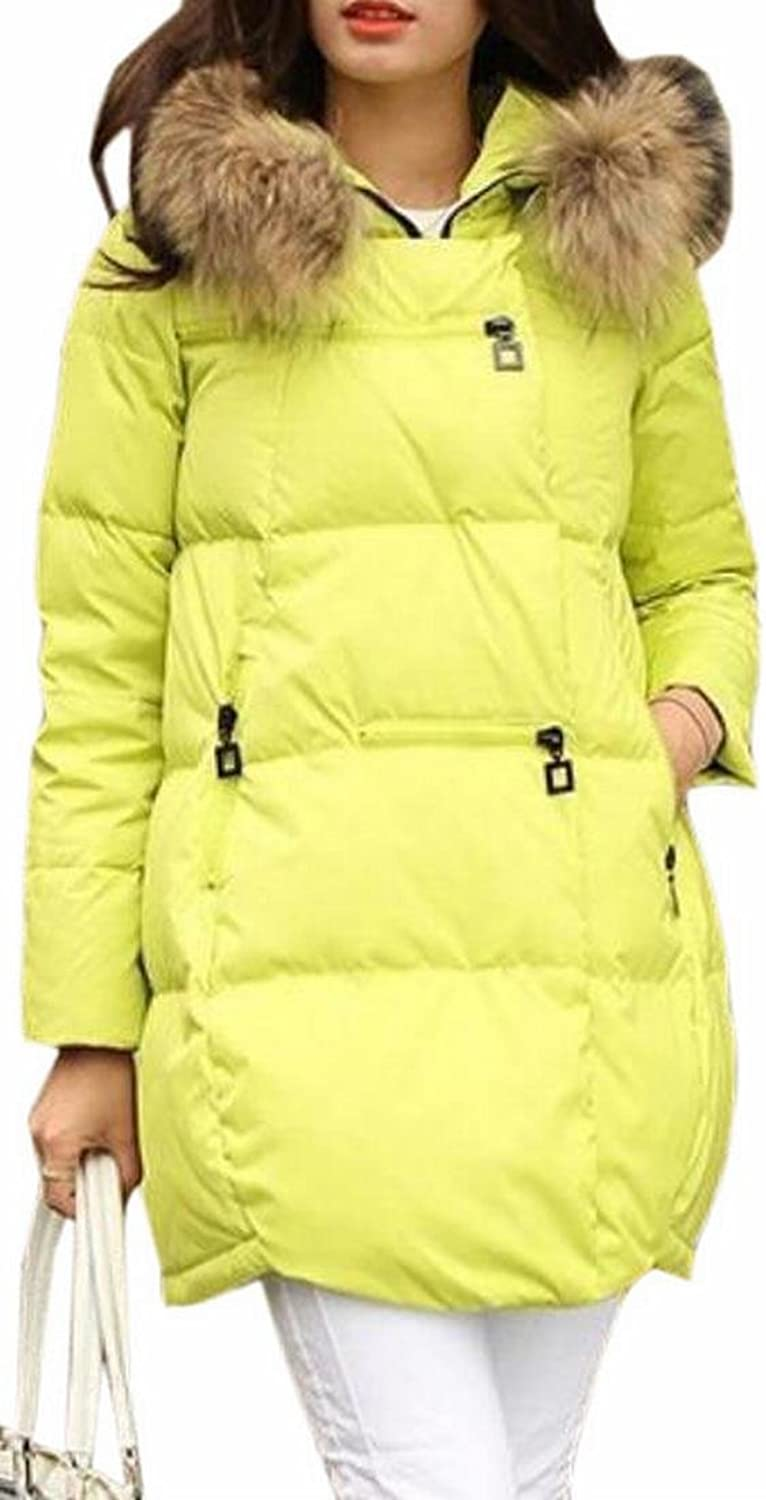 CBTLVSN Women's ALine Down Coat Fur Hooded Down Quilted Puffer Parka Coat