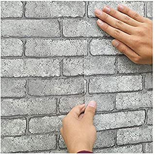 """3D Brick Wallpaper, H2MTOOL Removable Peel and Stick Gray Contact Paper Adhesive (17.7"""" x 78.7"""", Grey)"""