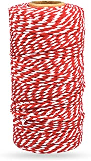 Bakers Twine Red and White, LaZimnInc Cotton Twine Packing String for Gardening, Decoration, Tying Cake and Pastry Boxes, ...