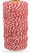 Bakers Twine Red and White, LaZimnInc Cotton Twine Packing String for Gardening, Decoration, Tying Cake and Pastry Boxes, Silverware, DIY Crafts & Gift Wrapping, Art and Crafts (2 mm/328Feet)