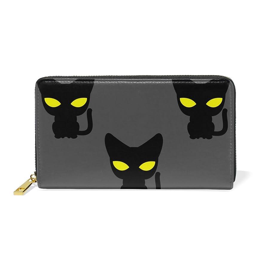 群集アクティブモナリザマキク(MAKIKU) 長財布 レディース 本革 おしゃれ 大容量 ラウンドファスナー カード12枚収納 プレゼント対応 猫柄 黒猫 かわいい