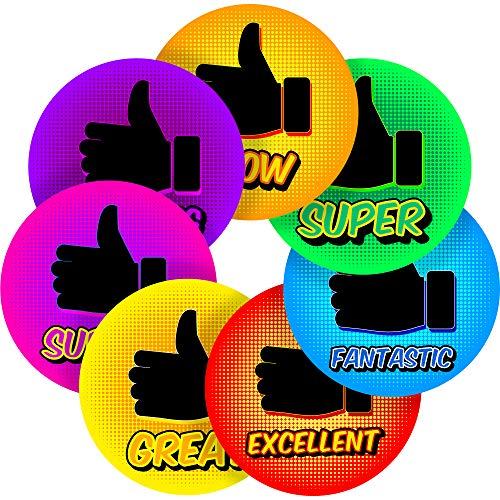 "Comic Thumbs Up Reward Sticker Labels, 70 Stickers @ 1"" inch, Glossy Photo Quality, Ideal for Children Parents Teachers Schools Doctors Nurses Opticians"