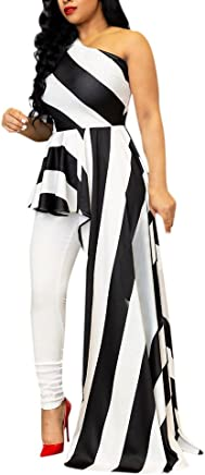 XJLUS-Apparel Off Shoulder Dresses for Women Sexy Sheath Party Clubwear Single Shoulder Stripe Dress