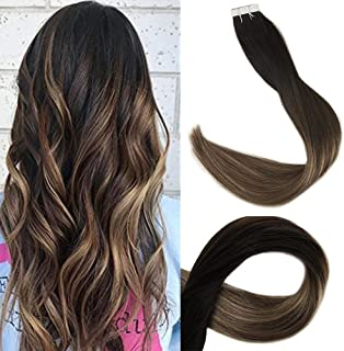 Fshine Stick Double Sided Hair Tapes 12 Inch Balayage Tape In Hair Extensions Color #1B Off Black Fading To Color #6 Brown And #27 Honey Blonde Human Hair Remi Tape In Hair 20Pcs 30 Gram