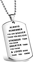 KUIYAI Hand Stamped Quote Words Dog Tag Pendant Necklace Keychain for Family and Friends