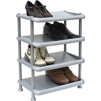 3 Ebenen ARTECSIS Schuhregal 3 Ebenen F/ür 6 Paar Schuhe 53 x 36,5 x 47,5 cm Grau Unbegrenzt Erweiterbar