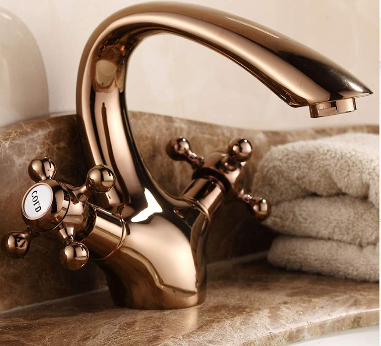 ROTOOY Wasserhhne Waschtischarmaturen Kupfer Becken Wasserhahn Badezimmer Badezimmer Waschbecken über Gegenbassin Wasserhahn RoséGold Wasserhahn